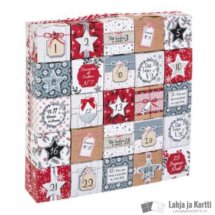 Joulukalenteri kartonkilaatikoista