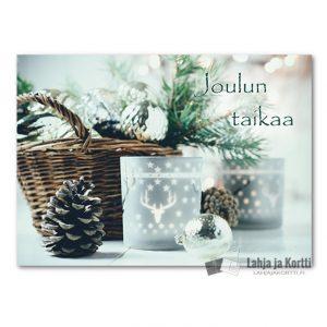 Joulutunnelmaa Käpy ja joulukoristeet