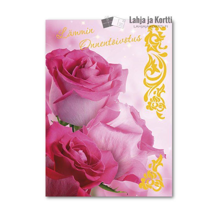 Lämmin onnentoivotus Pinkit ruusut