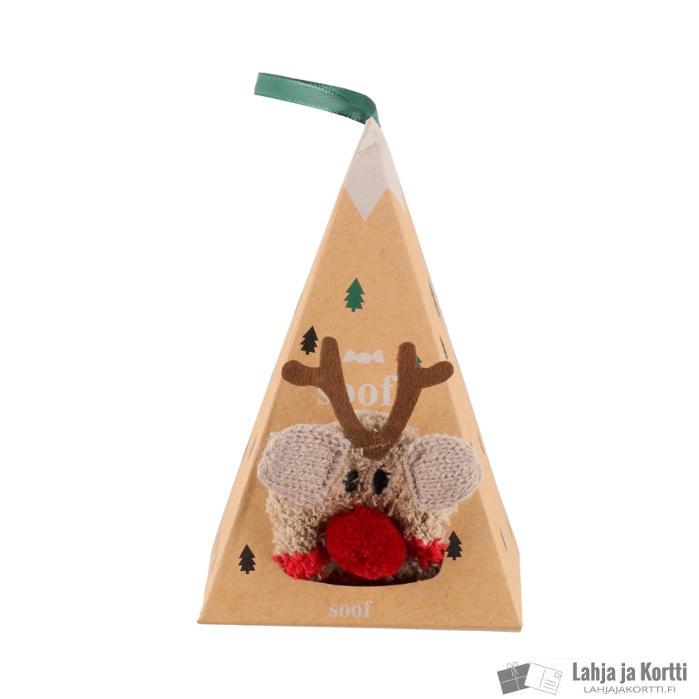 Lasten sukat lahjapakkauksessa poro