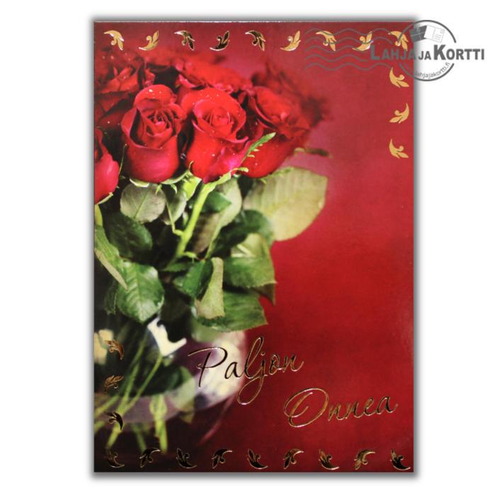 Paljon Onnea punainen ruusukimppu