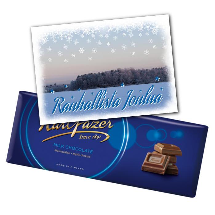 Suklaata ja joulukortti