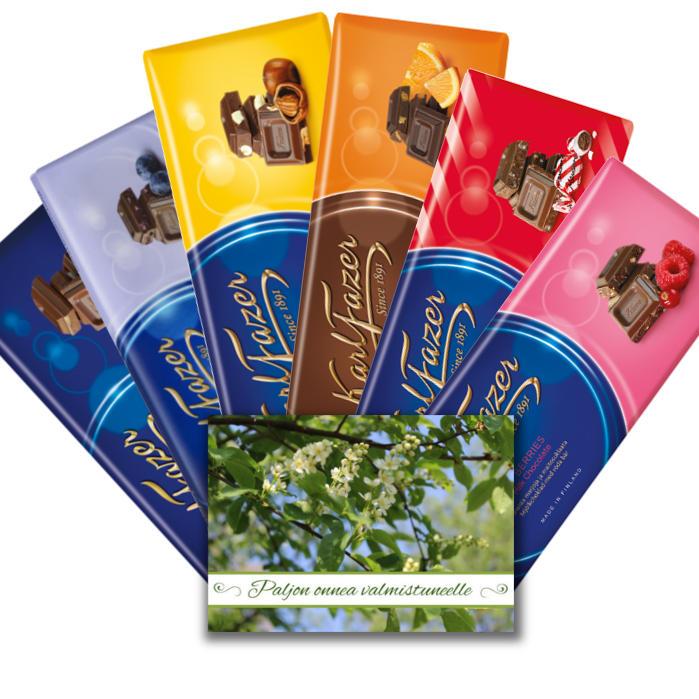 Suklaata eri makuja valmistuneelle