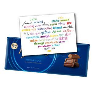 Ystävälle kortti ja suklaata